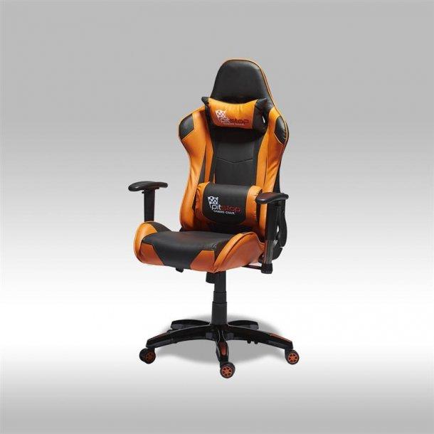 Gamer stol Wild som kontorstol i orange og sort PU kunstlæder.