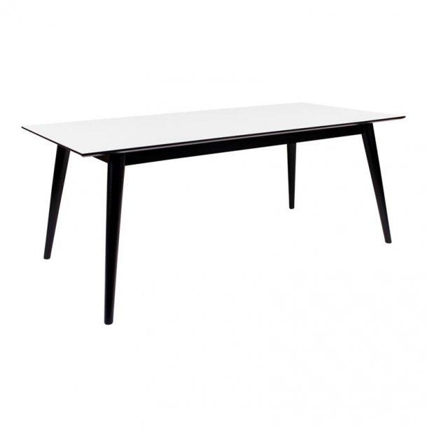 Cooper spisebord 195 / 285 cm langt med hvid HPL og sort stel, inkl. 2 tillægsplader.
