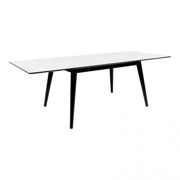 Cooper spisebord 150 / 230 cm langt med hvid HPL og sort stel, inkl. 2 tillægsplader.