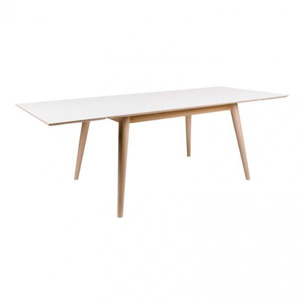 Cooper spisebord 150 / 230 cm langt med hvid HPL og ege dekor stel, inkl. 2 tillægsplader.