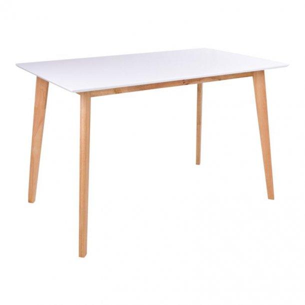 Voos spisebord 70 x 120 cm i hvid og natur.