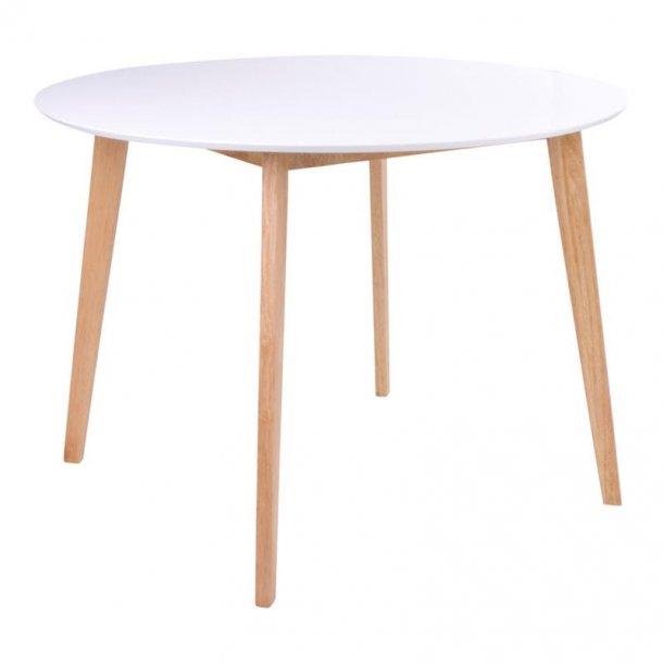 Voos spisebord Ø105 cm i hvid og natur.