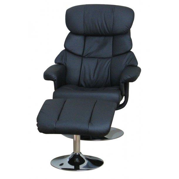 Hally recliner lænestol med positionsryg og med fodskammel i sort.