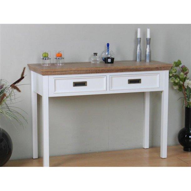 Marie konsolbord med 2 skuffer i hvid og bejdset med white wash. Leveres færdig samlet.