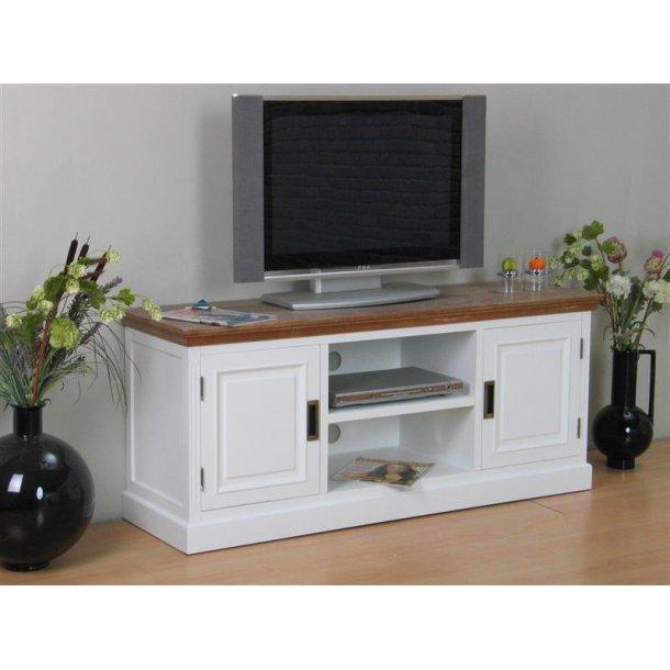 Marie tv bord med 2 låger og 1 hylde i hvid og bejdset med white wash. Leveres færdig samlet.