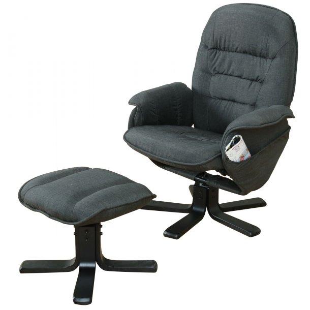 Trento recliner lænestol inkl. fodskammel i mørk grå og træ sort.