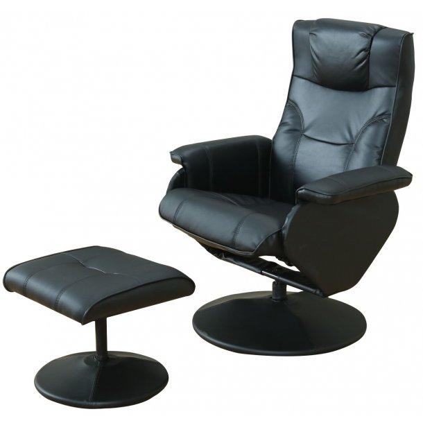 Treviso recliner lænestol inkl. fodskammel i PU kunstlæder sort.