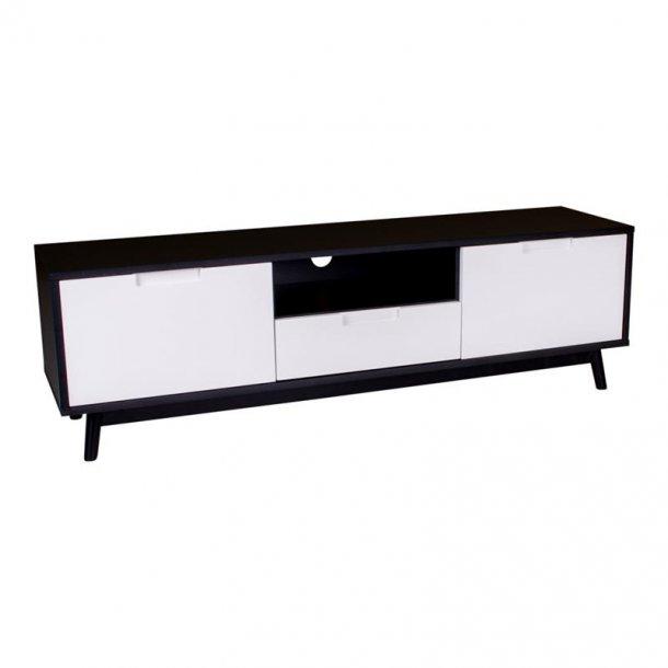 Cooper TV bord med 2 låger, 1 skuffe og 1 hylde i hvid og sort.