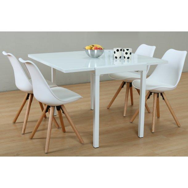 Lima spisebordssæt 90x55/111 cm hvid med 4 hvide Nelle stole.
