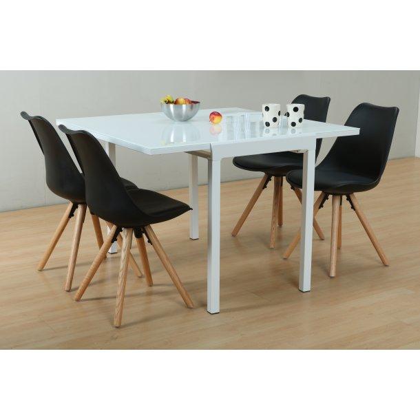 Lima spisebordssæt 90x55/111 cm hvid med 4 sorte Nelle stole.