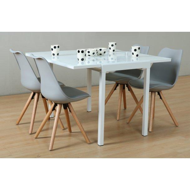 Lima spisebordssæt 90x55/111 cm hvid med 4 grå Nelle stole.