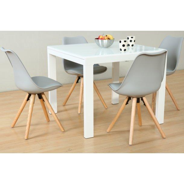 Lima spisebordssæt 90x90/163 cm hvid med 4 grå Nelle stole.