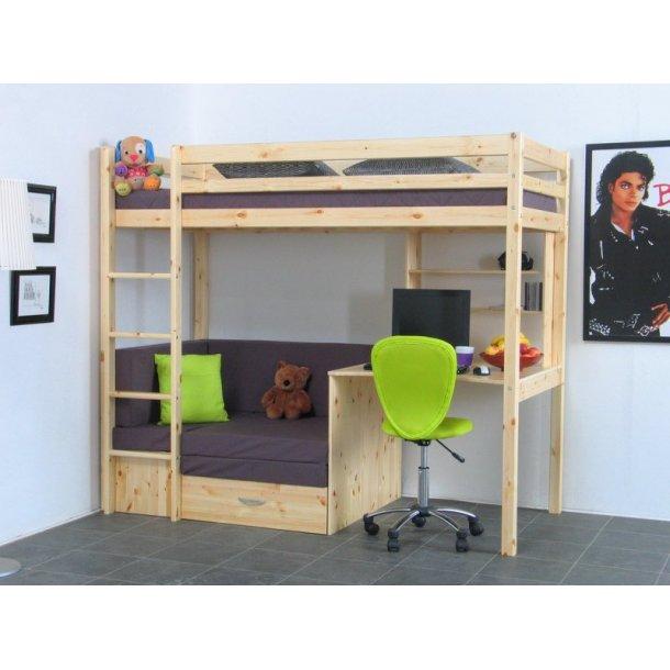 thuka kids hochbett couch lattenrost matratze schreibplatte und regal natur grau kaufen sie. Black Bedroom Furniture Sets. Home Design Ideas