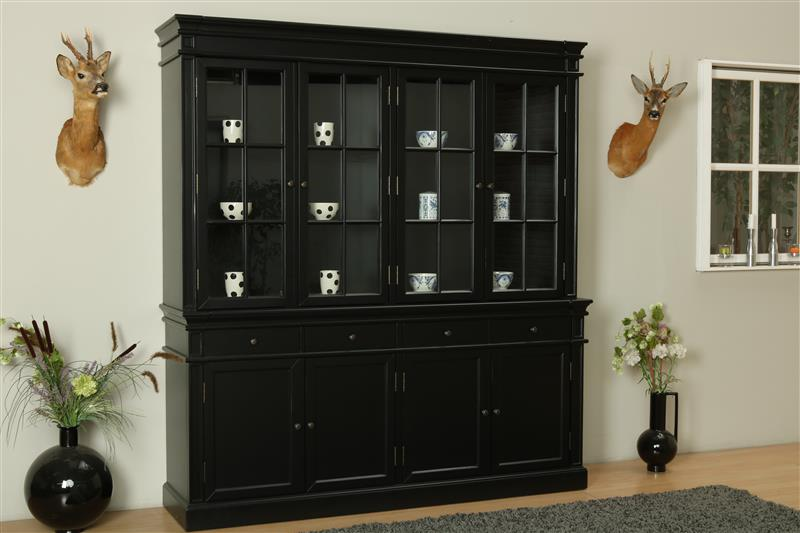 amaretta 4 t riger vitrinenschrank schwarz antik patiniert bestellen sie hier. Black Bedroom Furniture Sets. Home Design Ideas