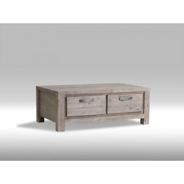 Alana sofabord med 4 skuffer i brunbejdset Akacietræ. Leveres færdig samlet.