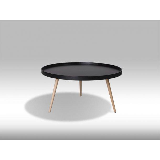 Osaka sofabord Ø90 cm i mat sort og med ben i ubehandlet bøg.