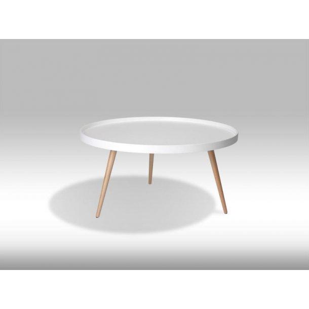 Osaka sofabord Ø90 cm i mat hvid og med ben i ubehandlet bøg.