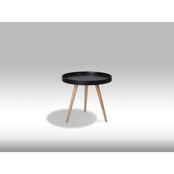 Osaka sofabord Ø50 cm i mat sort og med ben i ubehandlet bøg.