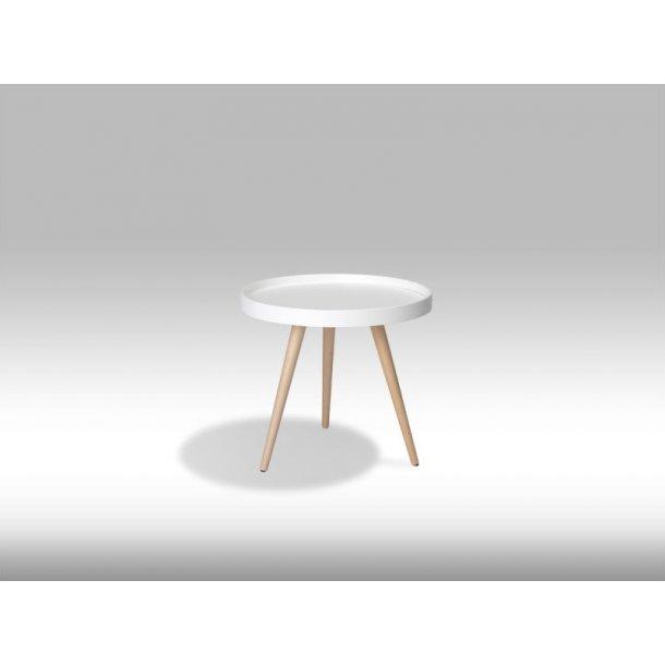 Osaka sofabord Ø50 cm i mat hvid og med ben i ubehandlet bøg.