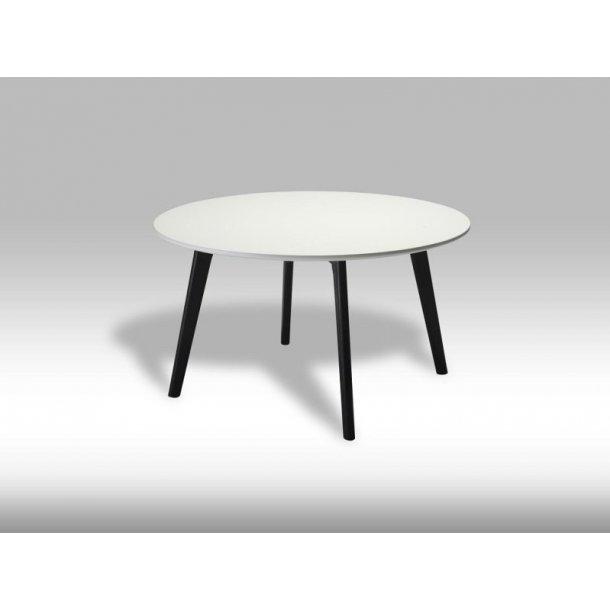 Livie sofabord Ø80 og højde 45 cm hvid og sort.