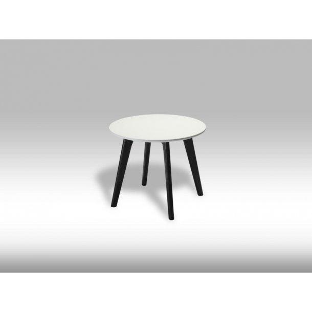 Livie sofabord Ø48 og højde 40 cm hvid og sort.