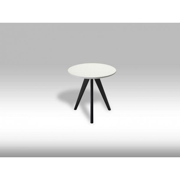 Livie sofabord Ø40 og højde 40 cm i hvid og sort.
