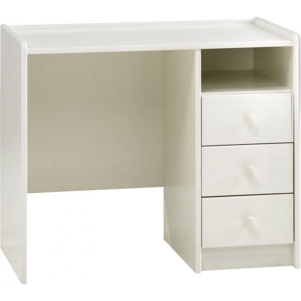 Molly Kids skrivebord med 1 hylle og 3 skuffer hvit til under halvhøy/høy seng.