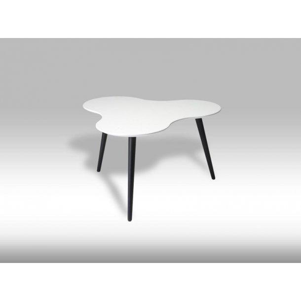 Sumi sofabord skyformet med hvid bordplade og sorte ben.
