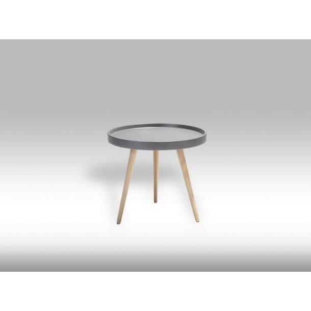 Osaka sofabord Ø50 cm i mat grå og med ben i ubehandlet bøg.