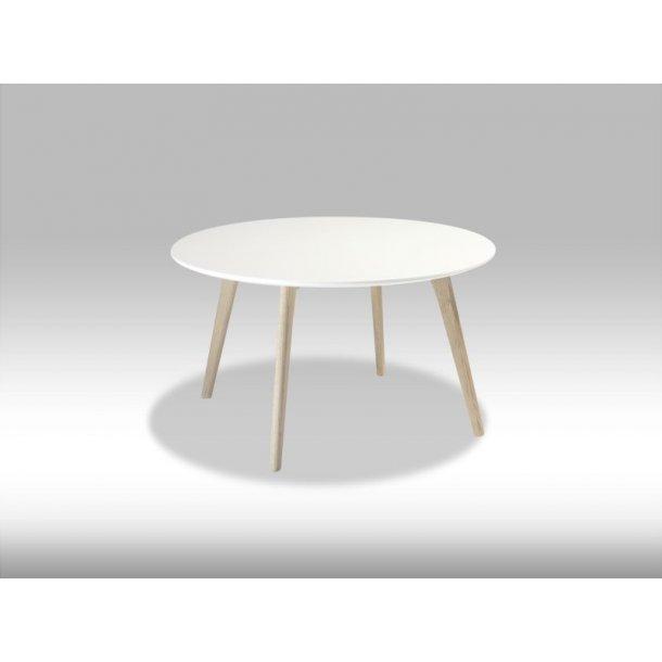Livie sofabord Ø80 og højde 45 cm hvid og eg.