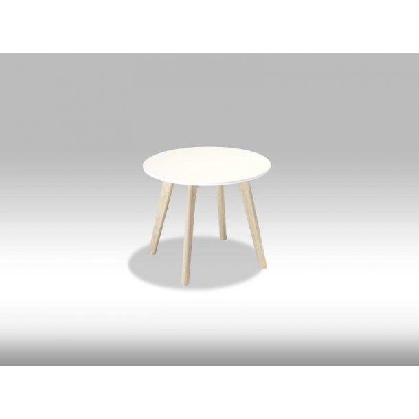 Livie sofabord Ø48 og højde 40 cm hvid og eg.