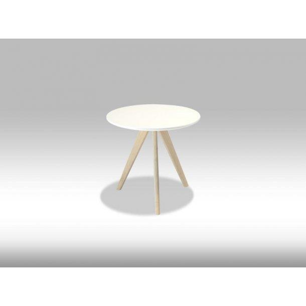 Livie sofabord Ø48 og højde 45 cm hvid og eg.