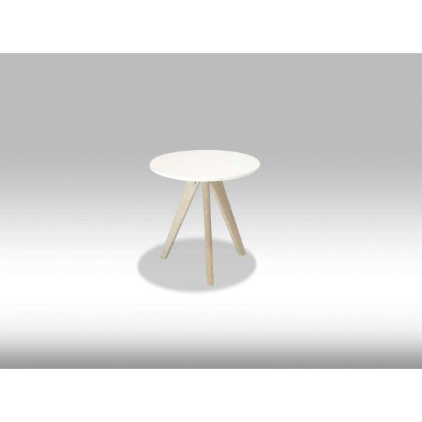 Livie sofabord Ø40 og højde 40 cm i hvid og eg.