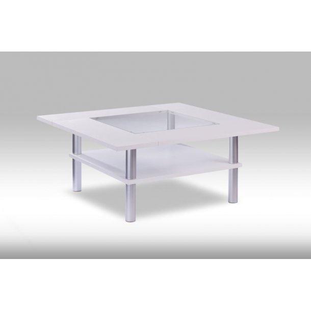 Plet sofabord 112 x 112 cm i hvid.