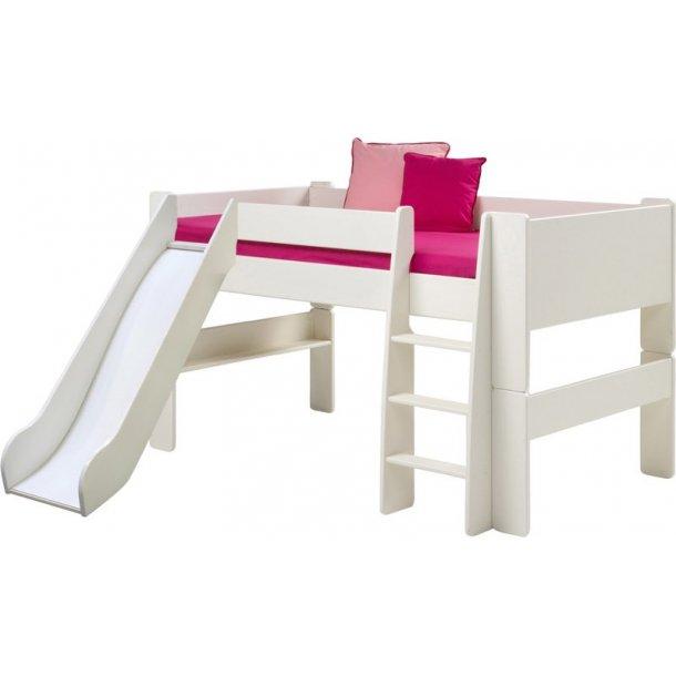 Molly Kids halvhøj seng med rutschebane 90x200 cm inkl. lamelbund hvid.