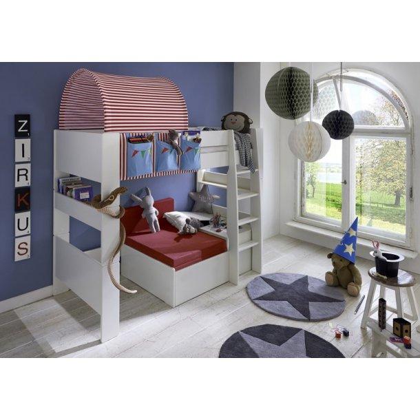 Molly Kids høyseng 90x200 cm hvit inkl. ribbebunn. Med sofamodul inkl. rød foldemadrass.