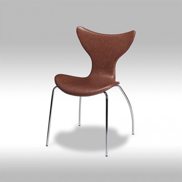 Ally spisestuestol i brun bonded læder med chrome ben.