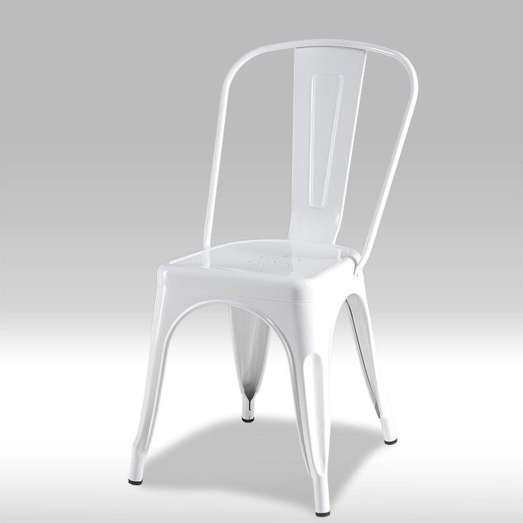 Spisestuestol Kirsa i hvit lakkert stål. Kjøp på nett her!