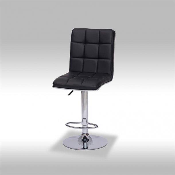 Lone barstol i sort PU kunstlæder.