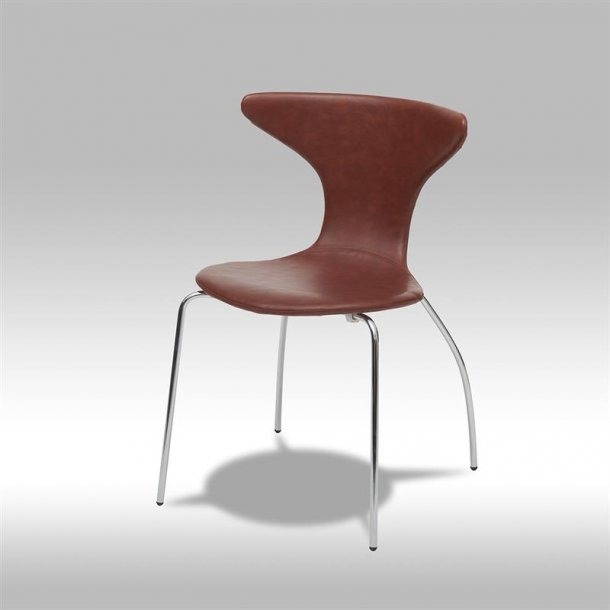 Saka spisestuestol i brun bonded læder med chrome ben.