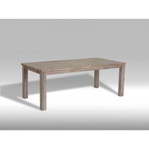 Alana spisebord 100 x 200 cm i brunbejdset Akacietræ med plads til 2 tillægsplader.