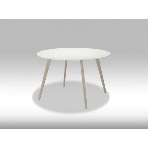 Livie spisebord Ø120 cm i hvid og eg.