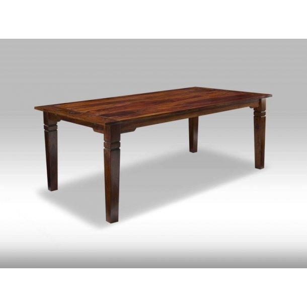 Ina spisebord 100 x 200 til 300 cm i brun Seeshamtræ. Inkl. 2 tillægsplader.