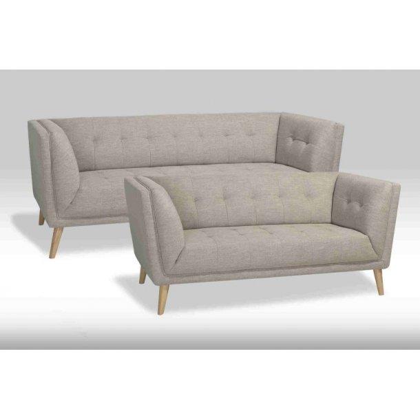 Prim sofagruppe 2 og 3 personers sofa i beige stof.