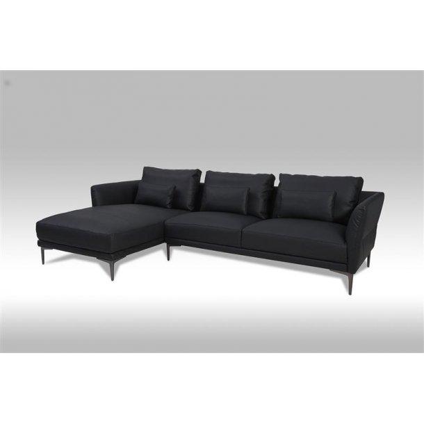 Barly sofa, chaiselongsofa til venstre i sort bonded læder.