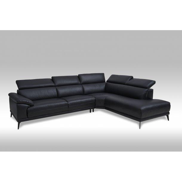 Samos sofa, chaiselongsofa til højre med regulerbare nakkestøtter i sort ægte læder.