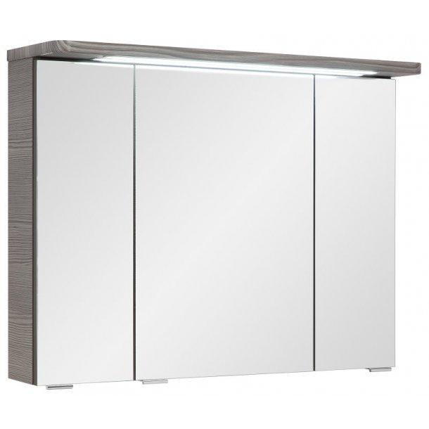 Spejlskab Gloria 80 cm til badeværelse i Grafit grå inkl. LED lys. Leveres færdig samlet.