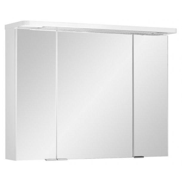 Speilskap Gloria 80 cm til baderommet i hvit høyglans lakk inkl. LED lys. FERDIG MONTERT