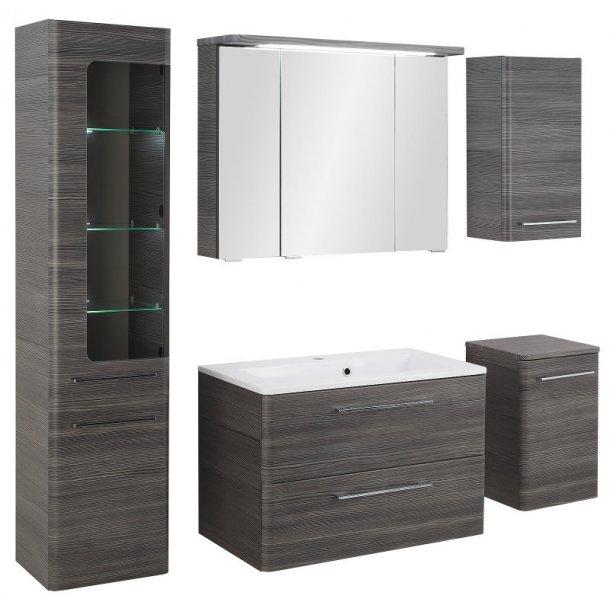 Baderomsinnredning Gloria baderomsmøbel stor oppstilling med vask og speilskap i 80 cm. Grafitt grå. FERDIG MONTERT