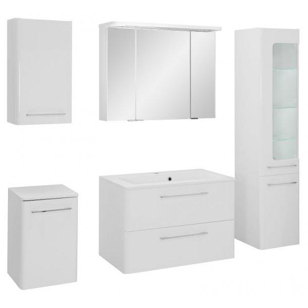 Badeværelse Gloria large opstilling hvor vask og spejlskab er 80 cm. Hvid højglans lak. Leveres færdig samlet.
